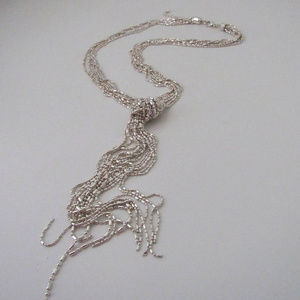 Jewelry - Silver Bead Knotted Lariat Necklace